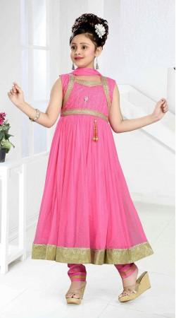 Outstanding Pink Kids Girl Long Anarkali Suit With Golden Border DT11448