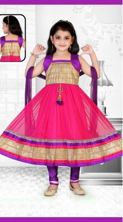 Outstanding Pink Net Kids Girl Long Anarkali Suit With Dupatta DT53644
