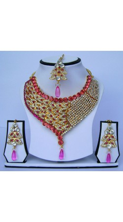 Outstanding Pink Stone Work Artificial Necklace Set With Tika N62299