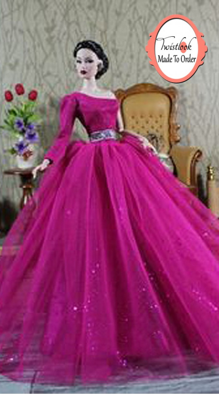 Outstanding Purple Net Barbie Gown For You Kid BP1013