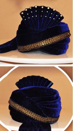 Outstanding Royal Blue Velvet Embroidered Groom Wedding Pagri ZP0708