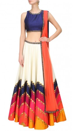 Outstanding Sequins Work White Dupion Silk Lehenga With Blue Choli SUUDL13616