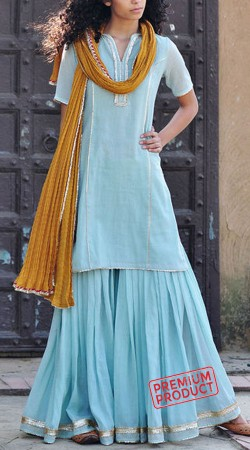Pale Blue Cotton Sharara With Contrast Dupatta BP2145