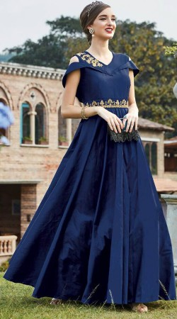Party Wear Blue Art Silk Cold Shoulder Gown WG88012