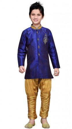 Party Wear Blue Art Silk Kid Boy Sherwani GR17514