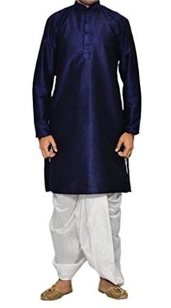 Party Wear Blue Raw Silk Men Dhoti Kurta BP0138