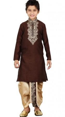 Party Wear Brown Art Silk Kid Boy Dhoti Kurta GR24713