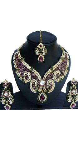 Party Wear Colorful Designer Necklace Set with Tika NNP74302