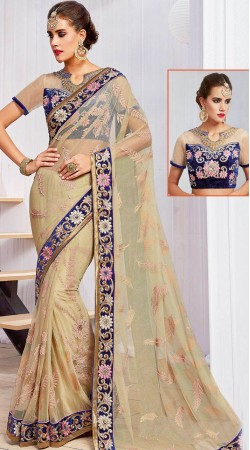 Party Wear Cream Net Border Saree With Floral Work Blouse MS961432
