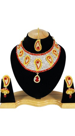 Party Wear Designer Necklace Set With Maang Tika NNP80505