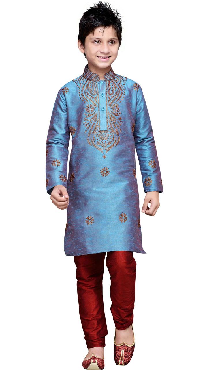 Party Wear Dual Tone Blue Art Silk Kurta Pajama For Kid Boy GR12410