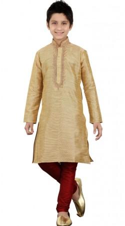 Party Wear Golden Art Silk Kid Boy Kurta Pajama GR20912