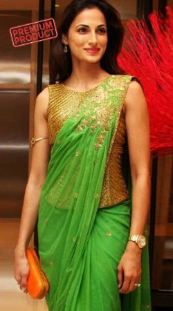 Party Wear Green Georgette Designer Saree Gown BP1146