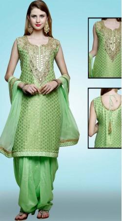 Party Wear Green Silk Designer Patiala Salwar Kameez DT11061