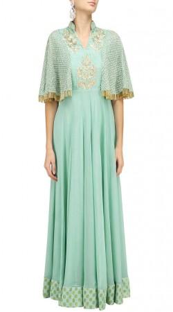 Party Wear Light Pastel Green Plus Size Anarkali Suit SUUDS47529