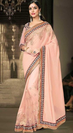 Party Wear Light Pink Georgette And Net Border Saree MS935437