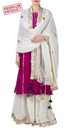 Party Wear Magenta Sharara Suit With Dupatta BP0245