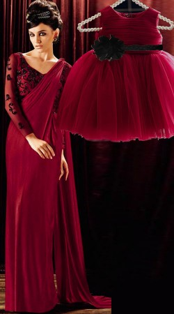 Party Wear Maroon Dress For Mom And And Little Angle BP2152