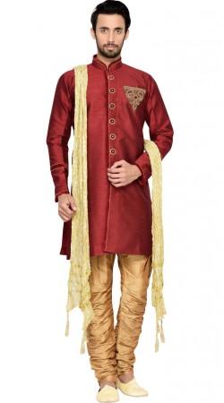 Party Wear Maroon Jharna Silk Indo Western Sherwani GR143909