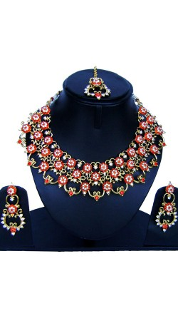 Party Wear Necklace Set With Maang Tika NNP85508
