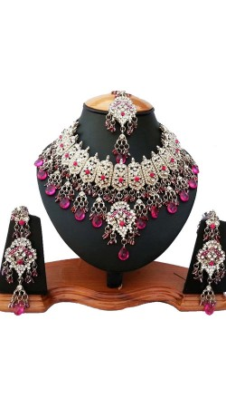 Party Wear Necklace Set With Maang Tika NNP81206
