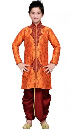 Party Wear Orange Art Silk Kid Boy Dhoti Sherwani GR19214