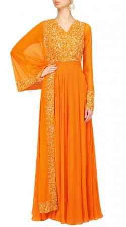 Party Wear Orange Designer Anarkali Suit SUUDS47929