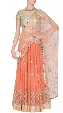 Party Wear Peach Net Designer Lehenga Choli SUUDL29731