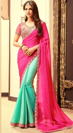Party Wear Pink And Turquoise Silk Saree With Embroidery Work Border 2BR11161