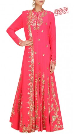 Party Wear Pink Floor Length Anarkali Suit SUMS31421
