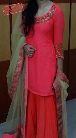 Party Wear Pink Georgette Sharara Set BP2445