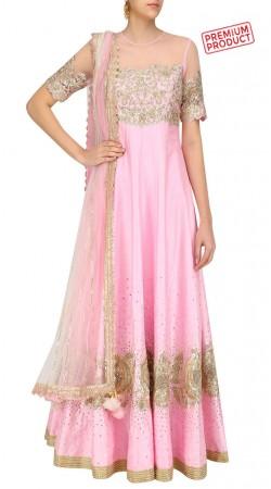 Party Wear Pink Silk Floor Length Anarkali Suit In Plus Size SUMS32821
