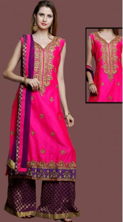 Party Wear Pink Silk Sharara Suit With Matching Dupatta DT10661