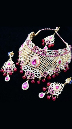 Party Wear Pink Stone Work Necklace Set NNP77203