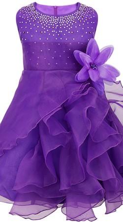 Party Wear Purple Net Designer Baby Frock BP0153