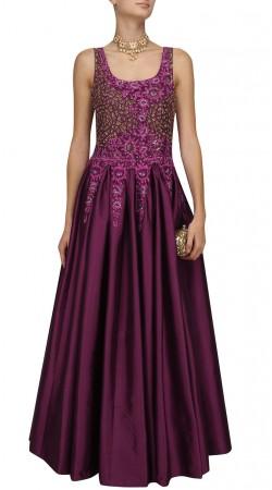 Party Wear Purple Silk Gown Style Suit SUMA57328
