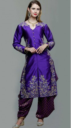 Party Wear Purple Silk Patiala Salwar Kameez DT10261