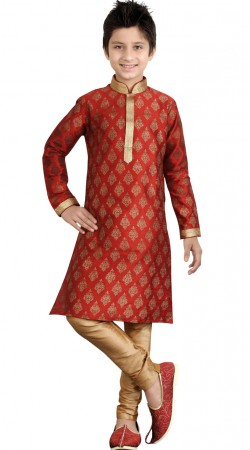 Party Wear Red Art Silk Kid Boy Kurta Pajama GR19412