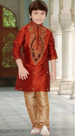 Party Wear Rust Taffeta Kids Kurta Pajama RL1734705