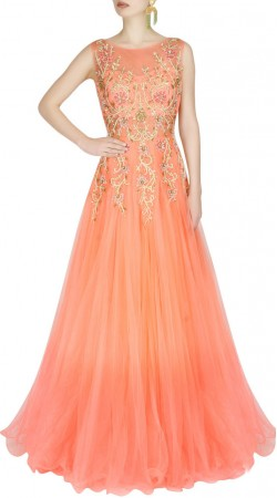 Party Wear Salmon Net Designer Cinderella Gown Style Suit SUUDS42320