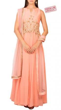 Party Wear Salmon Pink Georgette Gown BP1634