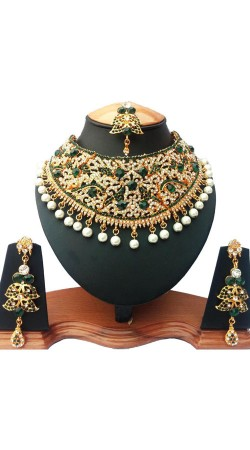Party Wear Stone And Moti Necklace Set With Maang Tika NNP76203