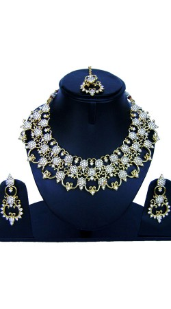 Party Wear Stone Work Necklace Set With Maang Tika NNP85908