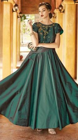 Party Wear Teal Art Silk Tulip Sleeves Gown WG88212