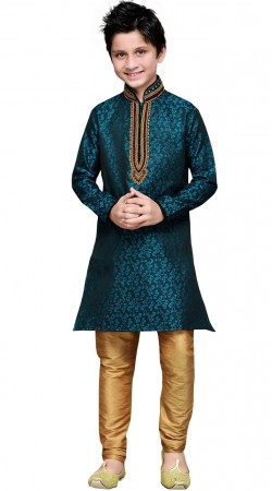 Party Wear Teal Blue Kid Boy Kurta Pajama GR18914