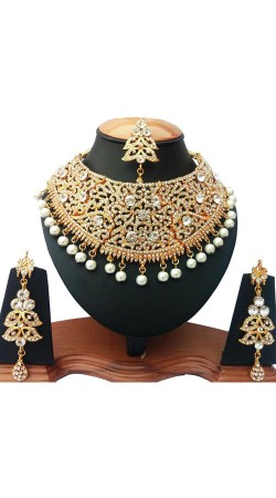 Party Wear White Stones And Moti Work Necklace Set NNP75903