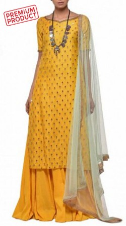 Party Wear Yellow Chanderi Sharara With Contrast Dupatta BP1845