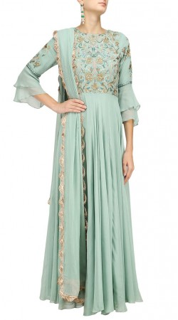 Pastel Green Floor Length Anarkali Suit SUUDS48829