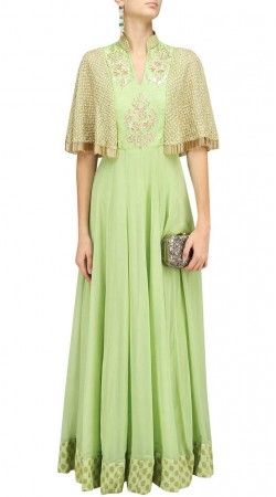 Pastel Green Plus Size Anarkali Suit With Dupatta SUUDS47329