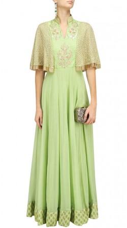 Pastel Green Plus Size Anarkali Suit With Dupatta SUUDS47329
